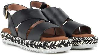 Marni Jute And Leather Wedge-sandals