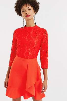 Oasis Mid Red Lace Top Flounce Shift Dress