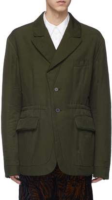 Haider Ackermann Peaked lapel drawstring padded twill soft blazer