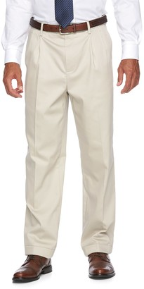 Croft & Barrow Men's No-Iron Relaxed-Fit Pleated Khaki Pants