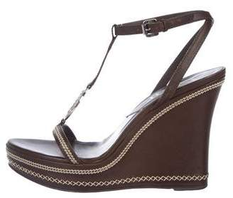 Christian Dior Leather Logo Wedge Sandals