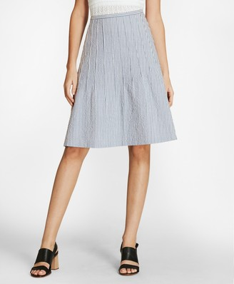 Brooks Brothers Striped Stretch Cotton Seersucker Skirt