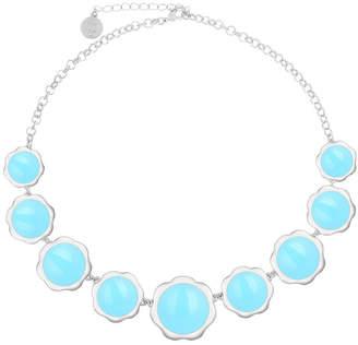Liz Claiborne Womens Blue Flower Collar Necklace