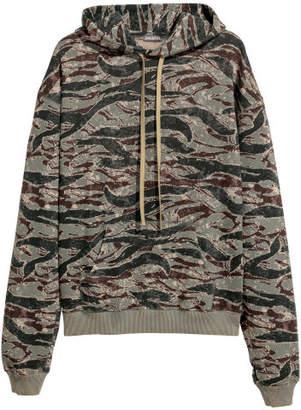 H&M Patterned Hooded Sweatshirt - Green
