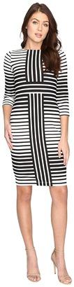 Christin Michaels - Ireni Contrast Stripe Bodycon Midi Dress Women's Dress $98 thestylecure.com