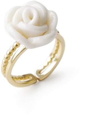 POPORCELAIN - White Cloud Porcelain Rose Ring