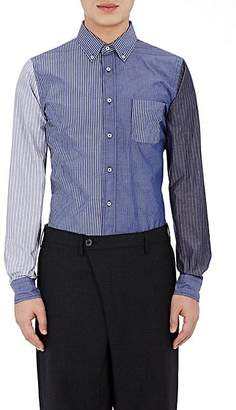 Lardini Wooster + WOOSTER + MEN'S MIXED-STRIPE BUTTON-FRONT SHIRT - NAVY SIZE S