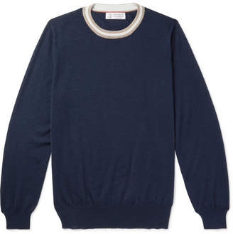 Brunello Cucinelli Stripe-Trimmed Cashmere and Silk-Blend Sweater