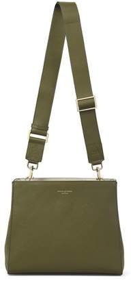 Aspinal of London Small Ella Hobo In Olive Pebble Suede With Plain Strap