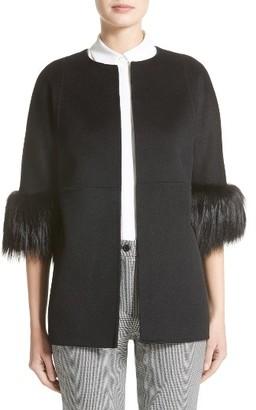 Women's Michael Kors Genuine Fox Fur Trim Wool Blend Jacket $2,895 thestylecure.com