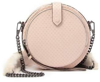 Rebecca Minkoff Mini Canteen Snakeskin Printed Leather & Genuine Rabbit Fur Crossbody Bag