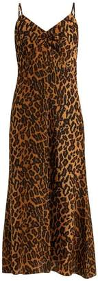 Miu Miu Leopard Print Low Back Silk Midi Dress - Womens - Leopard