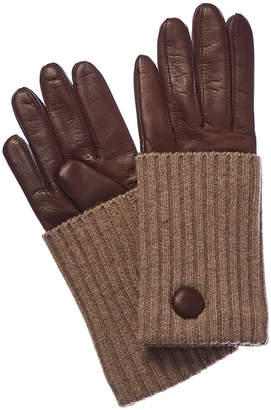 Portolano Kenya Roast Cashmere-Lined Leather Gloves