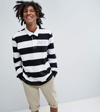 Pull&Bear Exclusive Long Sleeved Striped Polo Top In Black And White With Logo