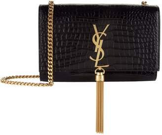 Saint Laurent Croc Embossed Kate Monogram Tassel Bag