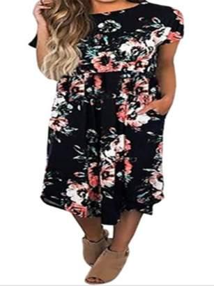 Lovaru Floral Print Bohemian Women Knee-length Dress