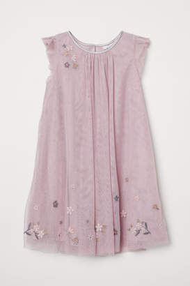 H&M Tulle Dress with Embroidery - Pink