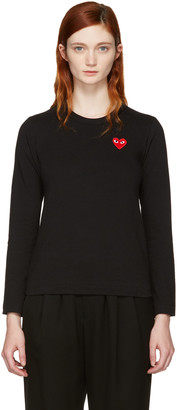 Comme des Garçons Play Black Long Sleeve Heart Patch T-Shirt $105 thestylecure.com