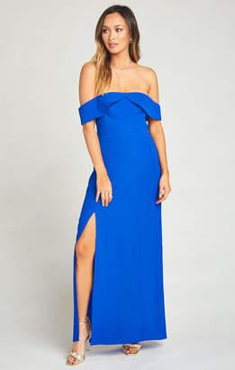 Show Me Your Mumu Upton Off Shoulder Maxi Dress ~ Royal Blue Pebble