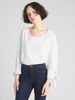 Gap Long Tie-Sleeve T-Shirt in Slub Cotton