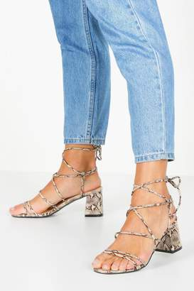 boohoo Extra Wide Fit Snake Block Heels