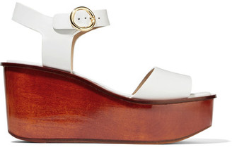 Michael Kors Collection - Bridgette Leather Platform Sandals - White $495 thestylecure.com
