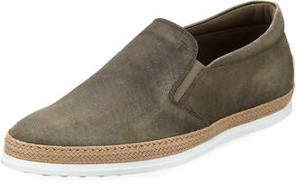 Tod's Distressed Leather Espadrille Loafer