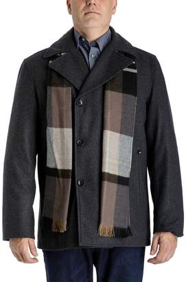 London Fog Tower By Men's Tower by Wool-Blend Double-Breasted Peacoat with Plaid Scarf