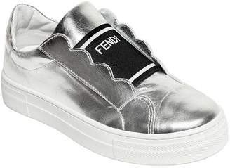 Fendi Metallic Leather Slip-On Sneakers