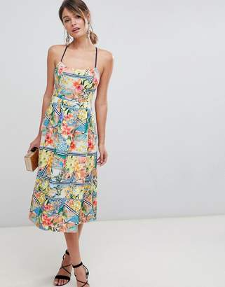 Asos Design DESIGN tropical stripe prom midi dress