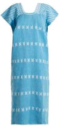 Pippa Holt - No.83 Embroidered Cotton Kaftan - Womens - Blue White