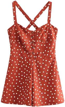 Goodnight Macaroon 'Shantel' Crossed Back Brick Red Polka Dot Print Overall Romper