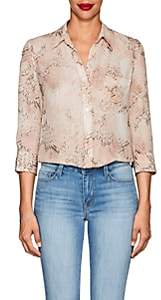 L'Agence Women's Ryan Python-Print Silk Blouse-Peach