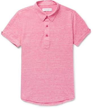 Orlebar Brown Sebastian Slim-Fit Mélange Linen And Cotton-Blend Piqué Polo Shirt