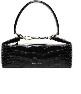Rejina Pyo black Olivia crocodile embossed leather box bag