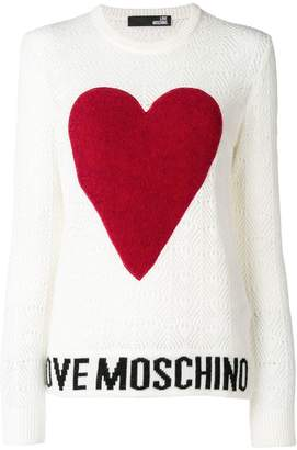 Love Moschino logo heart embroidered sweater