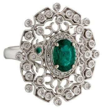 Ring 14K Emerald & Diamond Cocktail