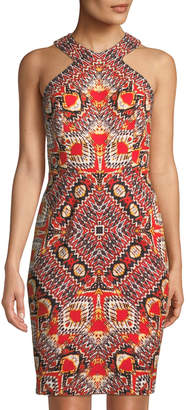 Maggy London Global Puzzle-Print Halter Dress