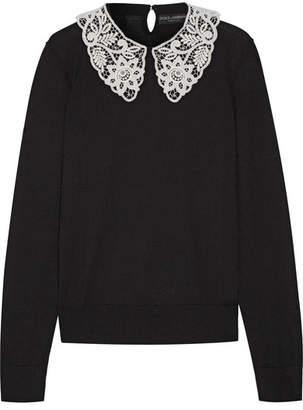Dolce & Gabbana - Guipure Lace-trimmed Wool Sweater - Black