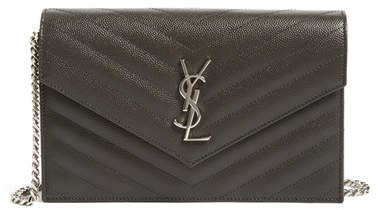 Women's Saint Laurent Quilted Calfskin Leather Wallet On A Chain - Grey
