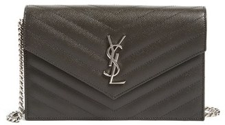 Women's Saint Laurent Quilted Calfskin Leather Wallet On A Chain - Grey $1,275 thestylecure.com