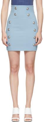 Balmain Blue Grain De Poudre Miniskirt