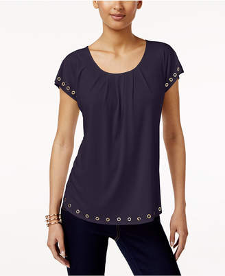NY Collection Petite Grommet-Trim Top