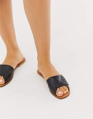 Asos Design DESIGN Favoured leather flat sandals