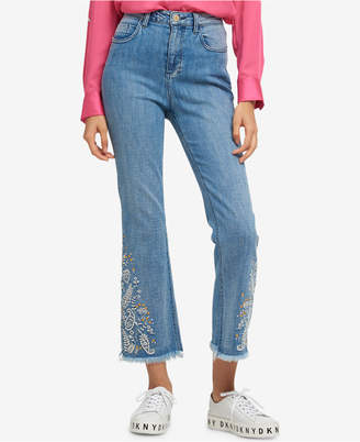 DKNY Embroidered Flared Jeans, Created for Macy's