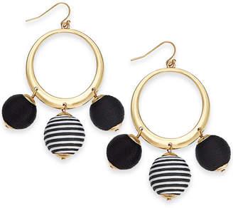 "INC International Concepts I.n.c. Large 2.5"" Gold-Tone Wrapped Ball Drop Hoop Earrings"