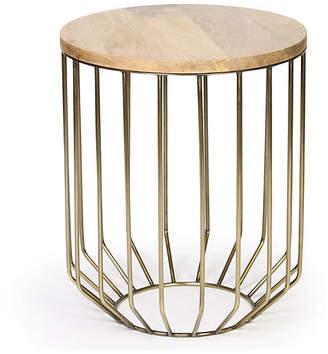 One Kings Lane Ashley Side Table - Wood/Brass