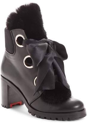 Christian Louboutin Jenny From the Alps Bootie with Genuine Mink Fur Trim