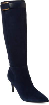 Calvin Klein Dark Navy Pointed Toe Suede Tall Boots