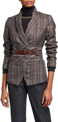 Brunello Cucinelli Peak-Lapel Plaid Virgin Wool Blazer with Leather Wrap Belt
